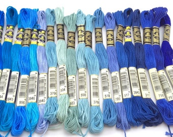 Blues, Turquoise, Seagreens: DMC Classic 6 Strand Embroidery Floss (100% Egyptian cotton)  BLACK is sold out
