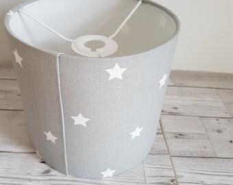 Grey star lampshade, 20 cm diameter, drum ceiling shade, table lampshade, nursery furnishings, prestigious textiles twinkle fabric, lighting