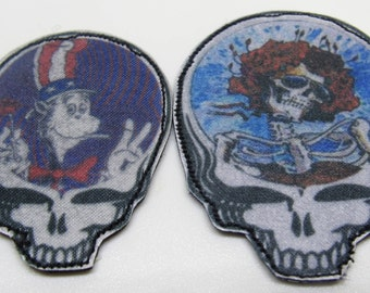 2 Grateful Dead Steal Your Face Patches ~Hand-Made Cat in the hat & Bertha Stealy Patches
