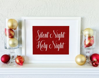 Silent Night Holy Night- Christmas Quote - Silent Night Sign - Christmas Mantel Decoration - Christmas Fireplace Decor - Holiday Wall Art