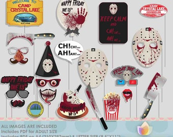 Friday 13th Halloween Photo Booth Props for Halloween Party