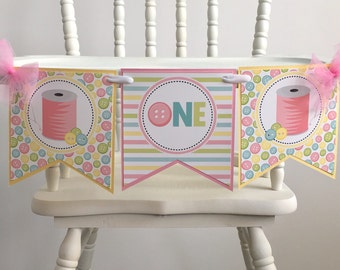Cute As A Button Highchair Banner - Cute As A button Birthday - High Chair Banner - Sew Cute -  Highchair Decoration -  First Birthday Party