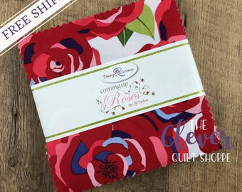 Charm Pack Squares, Coming Up Roses, Penny Rose Fabrics, Jill Finley, Roses, Paisley, Bees, Blue, Green, Red, Periwinkle, Free Shipping