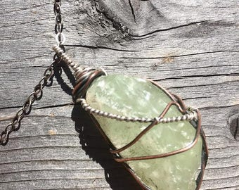 Green Calcite Necklace Crystal Necklace Reiki Necklace Healing Necklace Energy Necklace Energy Jewelry Calcite Jewelry Heart Chakra Necklace