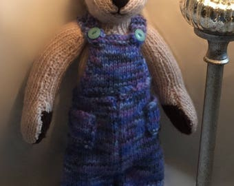 Merv The Bear. Knitted Teddybear. Traditional Teddy. Dungarees Teddy Bear. Blue Outfit Teddy. Cuddly Toy.