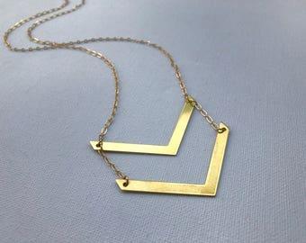 Brass Chevron Necklace, V Necklace, Double V Necklace, Monogram Necklace, Golden Arrow Necklace, Modern Necklace, Geometric Necklace