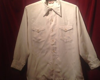 1940s Rayon Shirt /  Cream 40s button down Shirt / label - McCoy