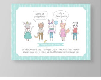 Party Animal Birthday Invitation | Cute Forest Friends Party Invite | Editable | Printable | Instant Download | Neutral, Boy or Girl #027NBD
