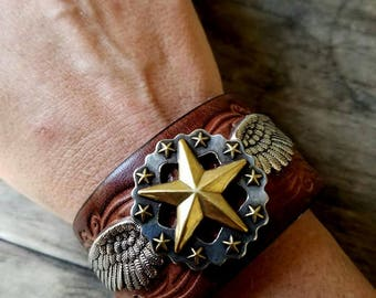 Lonestar Wings Genuine Leather Cuff