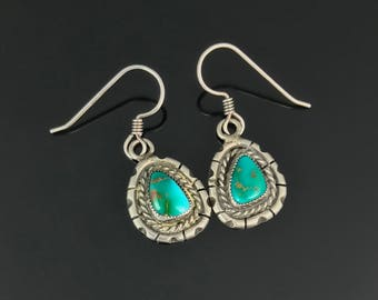 Turquoise Earrings Sterling Silver Native American Navajo