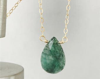Raw Emerald Necklace Natural Emerald Necklace May Birthstone Emerald Necklace Minimalist Necklace May Birthday Layering Necklace