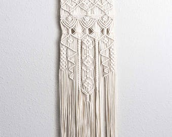 "TOTEM |:| thin macrame wall hanging | boho home decor | 12"" wide 