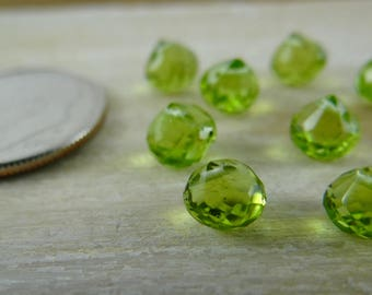 Peridot | Micro Faceted Onion Briolette Beads | Sets of 8