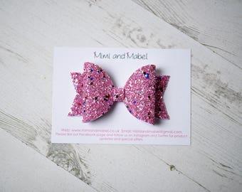 Glitter hair bow, pink hair bow, hair bows for girls, hair accessories, hair bow clips, glitter bows, handmade bows, girls hair clips