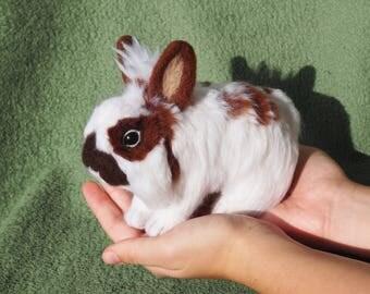 CUSTOM bunny-pet portrait-rabbit personalized-memorial sculpture-pet loss-felt miniature animal-made rabbit-handmade replica-Felted Bunny