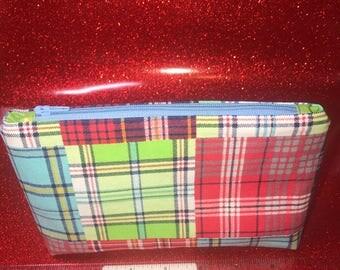 Bright Plaid Pouch Bag