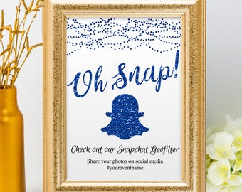 Printable Blue Glitter Look String Lights Social Media Geofilter Wedding Event Hashtag Sign, 2 Sizes, Editable PDF Instant Download
