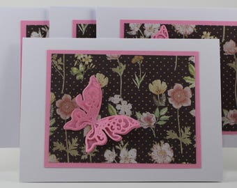 Pink Butterfly Note Card Five Pack