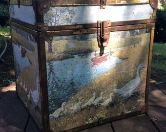 Vintage Wooden Box with Paper Decoupage of Ducks and Creek Scene - Metal Hinges - Shabby Chic Decor - Cottage Decor - Farmhouse Decor