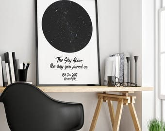 Star Chart Print - Star Map - Personalised Map of the Stars - Perfect gift for weddings births new baby birthday anniversary engagement