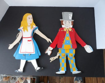 Vintage Wooden Marionettes Wall Decor  Alice in Wonderland and the Mad Hatter  1968