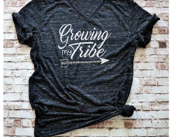 Growing my Tribe Maternity Shirt, Preggers Shirt, Pregnancy Announcement Shirt, New Mom Baby Bump Shirt, Graphic Mom Tee New Mama Gift