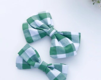 Spring green and white check