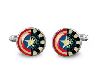Captain America Cuff Links Arc Reactor CuffLinks 16mm Cufflinks Gift for Men Groomsmen Novelty Cuff links Fandom Jewelry
