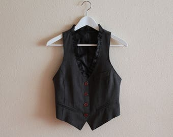 Grey Vest Gray Women's Vest Women Steampunk Vest Fitted  Waistcoat Cotton Blend Extra Small Size