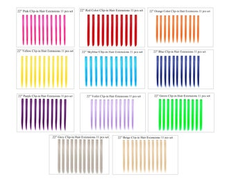 Bundle 11 pieces of Single Color 22 Inches Party Highlights Clip In Synthetic Hair Extensions Cosplay
