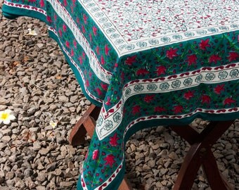 Cotton Table Cloth, Washable Tablecloth, Teal Table Cloth, Square Tablecloth,  , HandBlock