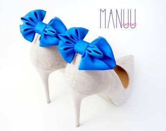 Blue bows - shoe clips Manuu, shoe accessories, classic bows, elegant shoe clips, something blue, wedding bows, wedding accessories