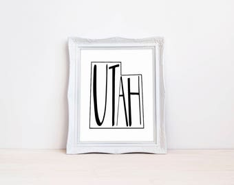 "Utah State Print || 8""x10"" Utah Wall Art Sign 