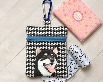 Dog Walking Bag, Black Shiba Inu Pouch, Dog Treat Bag, Black Shiba Inu Gift, Dog Lover Gift, Dog Birthday Gift, Gift For Her, Cotton Fabric