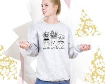 Vegan Sweatshirt Plants are Friends Vegan Sweater Women Vegetarian Sweatshirt Men Vegan Gift Sweatshirt Women Vegeterian Gift Hoodie PA3010
