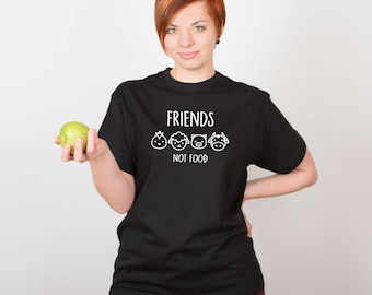 Friends Not Food Shirt Vegan Shirt Vegan Tshirt Tops Vegan Gift Animal Print Shirt Printed Tumblr Graphic Shirt Animal Lover Shirt PA1224