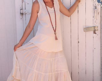 Gauze Cotton Boho Gypsy Tiered in CREAM // Natural Fiber, Flexible Waistband, Slip / Breathable Elegance!