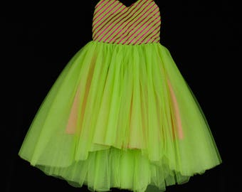 Cindy Lou Who Inspired Dress, Christmas Dress, Green and Pink High-Low Dress, Tulle Skirt Dress, Candy Dress, Party Dress