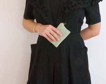 1940s Black Linen Day Dress with Floral Eyelet Sailor Collar and Deep pockets