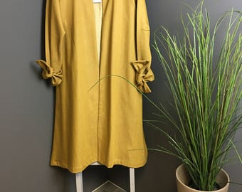 Mustard Denim Duster Coat, Ladies Coat, Women's Clothing