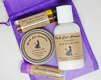 Lavender Gift Set, Lotion, Lip Balm, Salve, Relax & Unwind Roll-On, Organic Moisturizing Lotion, Calming, Cuticle Balm, Aromatherapy