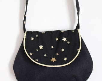 Little chic girl black bag with gold stars