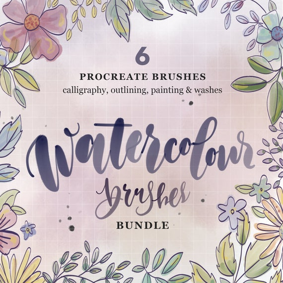 Watercolour procreate bundle brushes for calligraphy