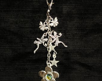 Unique Fairy Clip on charm. Inspired by Sherwood Forest. Tibetan Silver charms for bags, keys,jewellery, purses etc. Gift bagged.