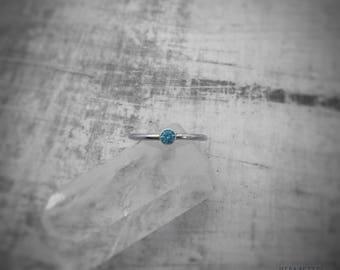 Aquamarine And Silver Ring / Aquamarine Solitaire Ring / Aquamarine Stacking Ring / Silver Stacking Ring / March Birthstone Ring / Gift