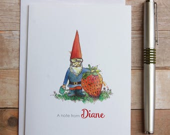 Personalized Garden Gnome Note Cards - Gnome Cards, Gnome Thank you, Mythology Note Cards, Whimsical Garden Gnome, Fairy Garden Note Cards