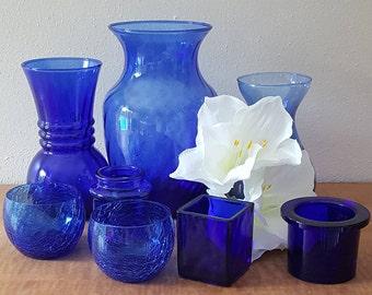 Wedding Vases Cobalt Blue Vase Set of 8 Assortment of Sizes Cobalt Blue Wedding Vases