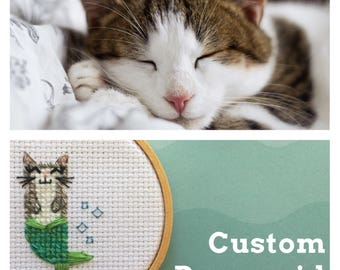 Custom Purrmaid - Custom Cat Portrait - Personalized Cat Portrait - Custom Cat Cross Stitch - Custom Purrmaid Cross Stitch - Cat Lover Gift