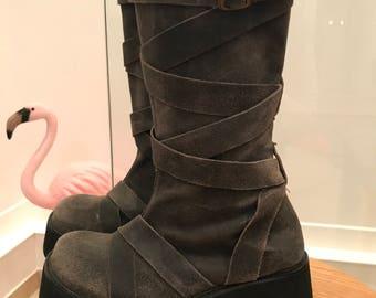 90s platform boots leather