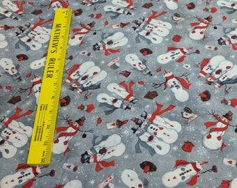 Tossed Snowmen Cotton Fabric (103-613) from Fabri-Quilt